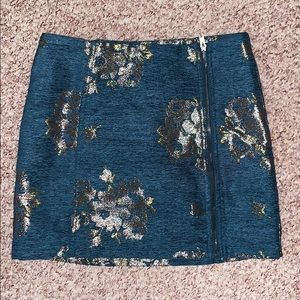 Free people gold foil high wasted skirt, size 6